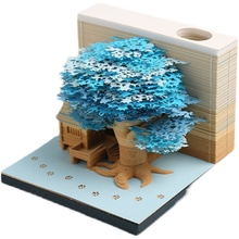 Omoshiroi Block 3D Sticky Novelty Treehouse Card Note Flip Box Custom Shaped Die Cut Stickers Memo Pad Party Gift Decoration