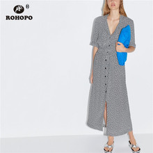 ROHOPO Tiny White Daisy Floral Midi Dress Top Pockets Buttons Fly Bow Belted Cotton Mid Calf Length Vestido #2272 belted floral and plaid shell top