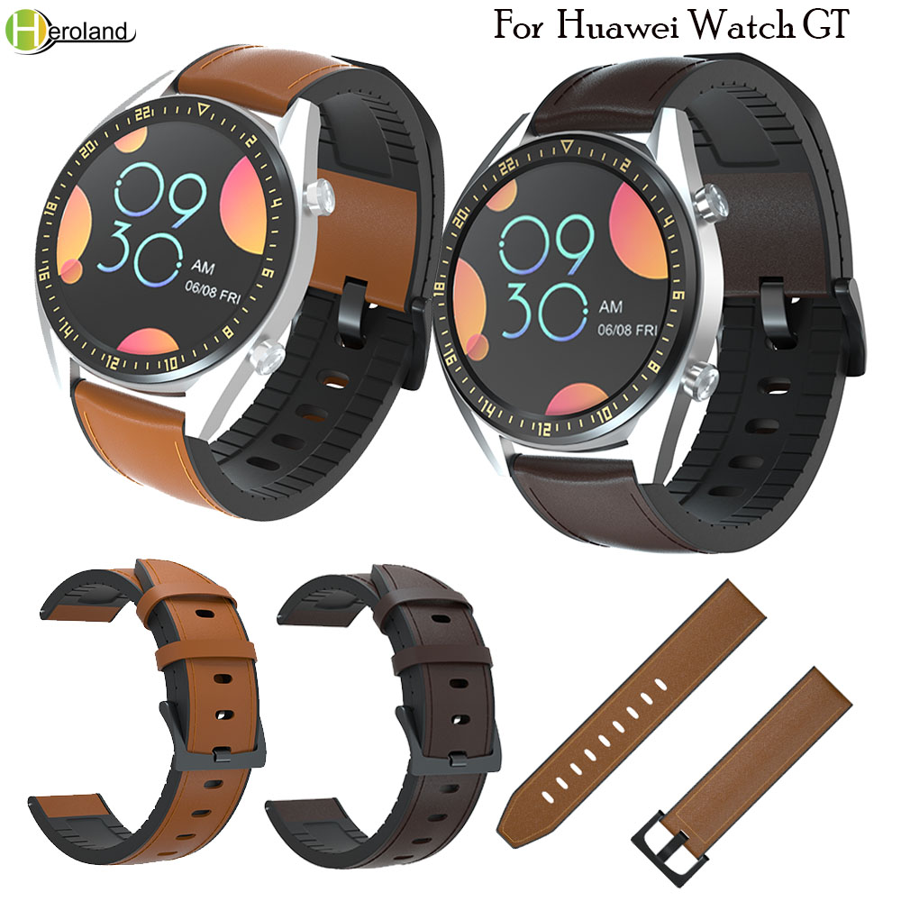22mm Watch Strap Silicone +leather For Huawei Watch GT/GT 2 Quick Release Watchband For Samsung Gear S3/Galaxy 46mm Wristband