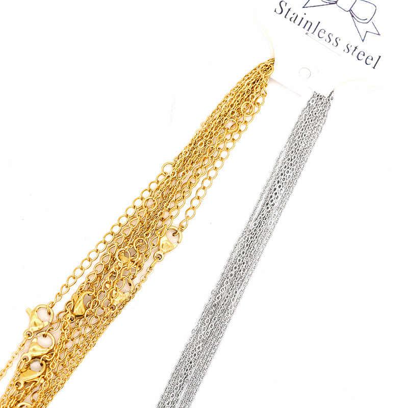 1 Pack 316L Edelstahl 1,2 1,5 2mm Link Kette Gold Silber Ton 45 50cm Länge Frauen Männer einstellbare Halskette Kette Erkenntnisse