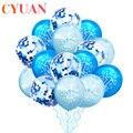 CYUAN, синие латексные воздушные шары для первого дня рождения для мальчиков, набор конфетти, украшение для дня рождения, для детей, для первог...