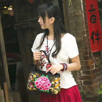China Yunnan Ethnic Embroidery Bag Bouble-layer Zipper Wooden Beads Portable canvas chest Shopping bags shoulder