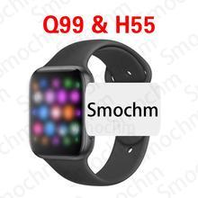 Inteligentny zegarek Smochm IWO Q99 H55 MTK2502 pulsometr Smartwatch Bluetooth wywołanie dla Apple Iphone Android PK IWO 12 MAX tanie tanio Brak Na nadgarstku Wszystko kompatybilny 128 MB Passometer Fitness tracker Wiadomość przypomnienie Odpowiedź połączeń