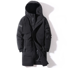 2020 Winter Men #8217 s Down Jacket Hooded Fashion Long Down Coat Men Windproof Waterproof Thick Warm Brand Mens Clothing Long Parka cheap CN(Origin) Loose Men Down Coat Casual zipper Full Pockets Thick (Winter) Broadcloth Polyester White duck down NONE 150g-200g