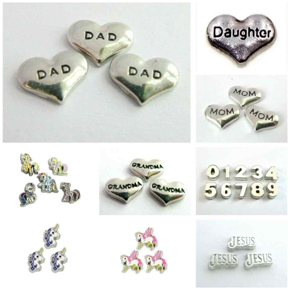 10pcs Dad Mom Grandpa Unicorn Little Horse Charms Floating Charms Fit For Floating Memory Living Glass Lockets Jewelry Making