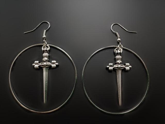 Antique silver sword earrings The dark witch pendant Gothic Antique sword jewelry A gift for your.jpg 640x640 - Antique silver sword earrings The dark witch pendant Gothic Antique sword jewelry A gift for your girlfriend women classical new