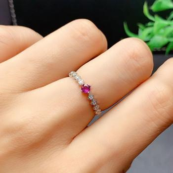 Fashion Natural Purple Garnet Ring S925 Sterling Silver Ring for Woman  Ladies Simple Ring natural purple tooth garnet garnet ring classic garnet s925 sterling silver jewelry free shipping