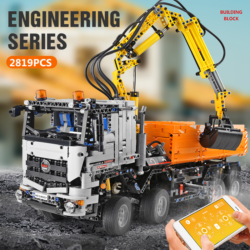 MOULD KING 19007 High-Tech Car Compatible With 42043 App Motorized Arocs 3245 Building Blocks