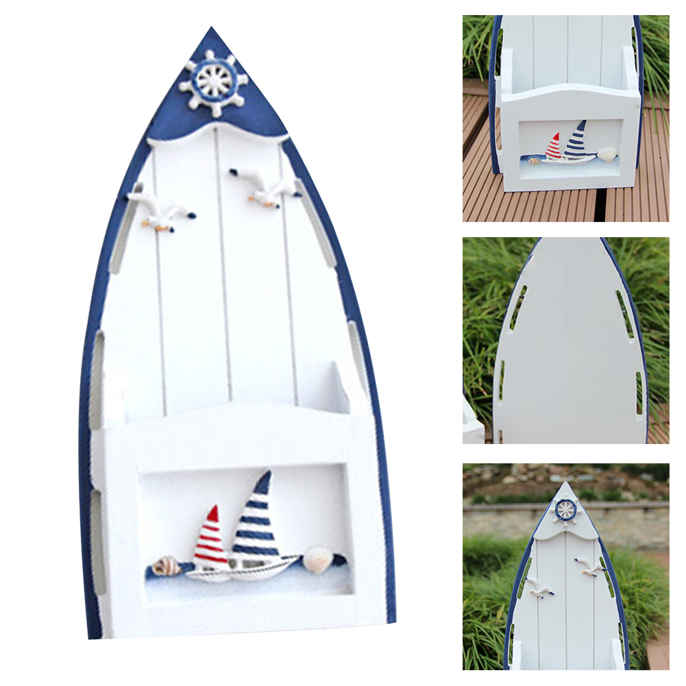 Mailbox <font><b>Wooden</b></font> <font><b>Seabird</b></font> Sailboat Ornaments Mediterranean Style Outdoor Yard Keys Storage Cabinet Letter Box Home Decor Newspaper image