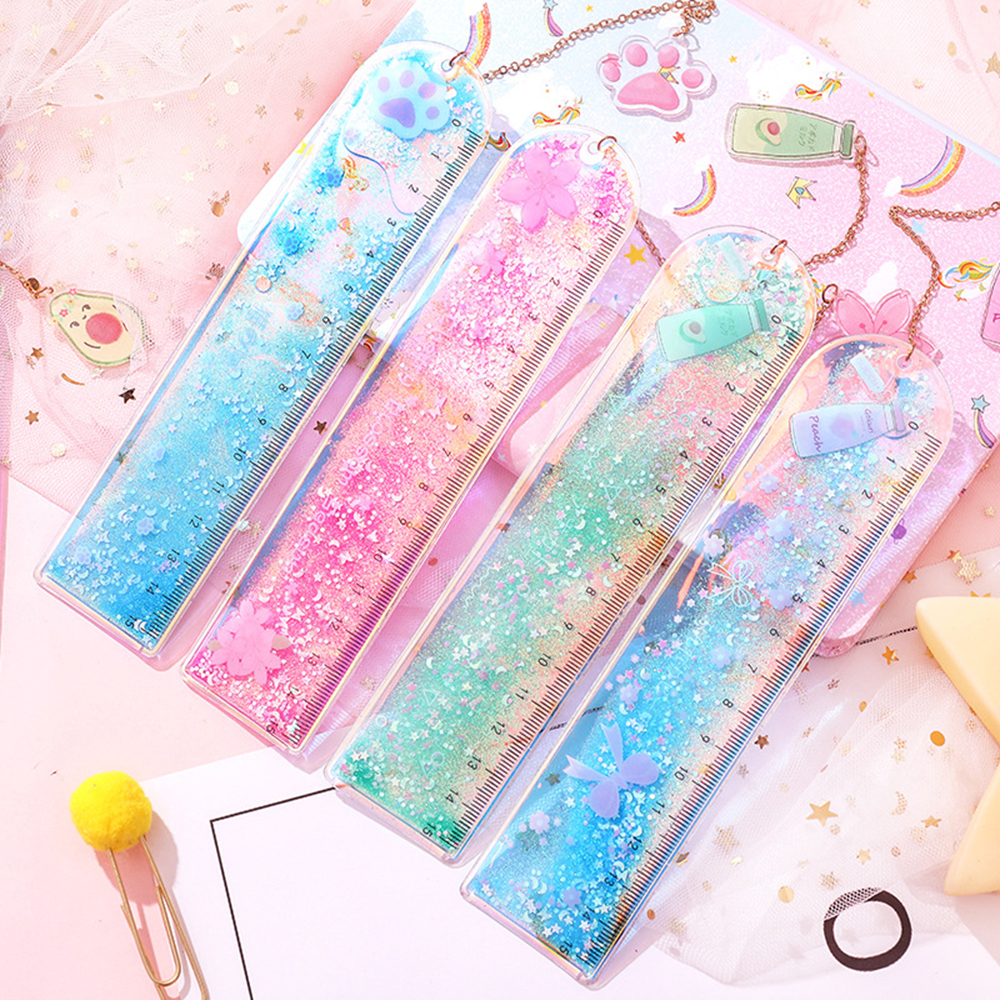 1 Pcs Oil Flow Sand Bookmark Rulers Kawaii Laser Drawing Template Lace Straight Ruler Office School Stationery