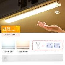 74 led sob luzes do armário para a cozinha luzes da noite guarda-roupa lâmpada do armário recarregável led sensor de movimento lâmpada tira para o quarto