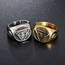 цена на LISTE&LUKE Popular Personality Ring Masonic Triangle Eyes Devil Eyes Men's Alloy Ring Fashion Jewelry Dropshipping
