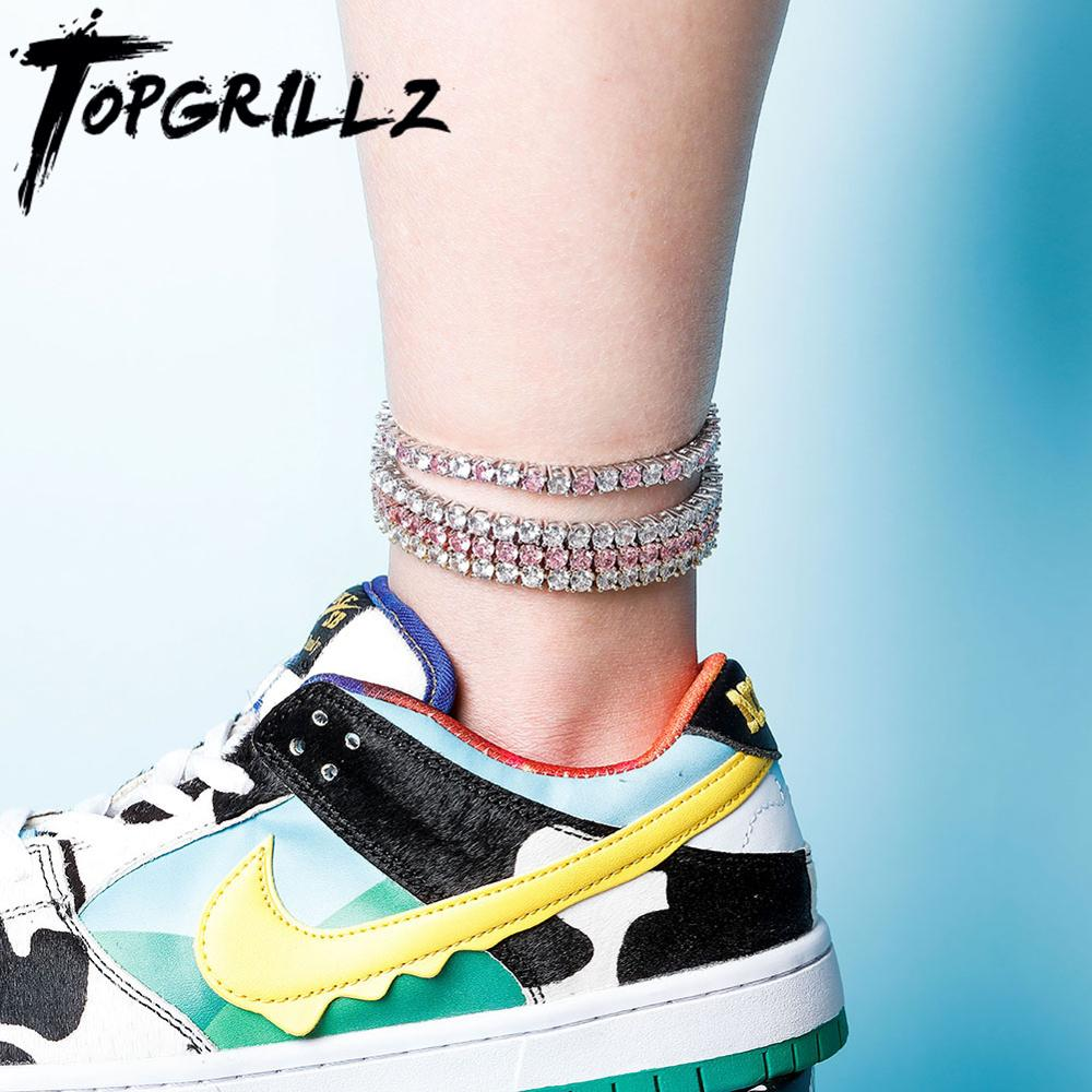 TOPGRILLZ Anklet 5mm/6mm Tennis Chain Anklet Iced Out Cubic Zirconia Hip Hop Punk Fashion Charm Jewelry For Gift Can Adjustable