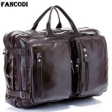 Fashion Multi Function Full Grain Genuine Leather Travel Bag Mens Leather Luggage Travel Bag Duffle Bag Large Tote Weekend Bag