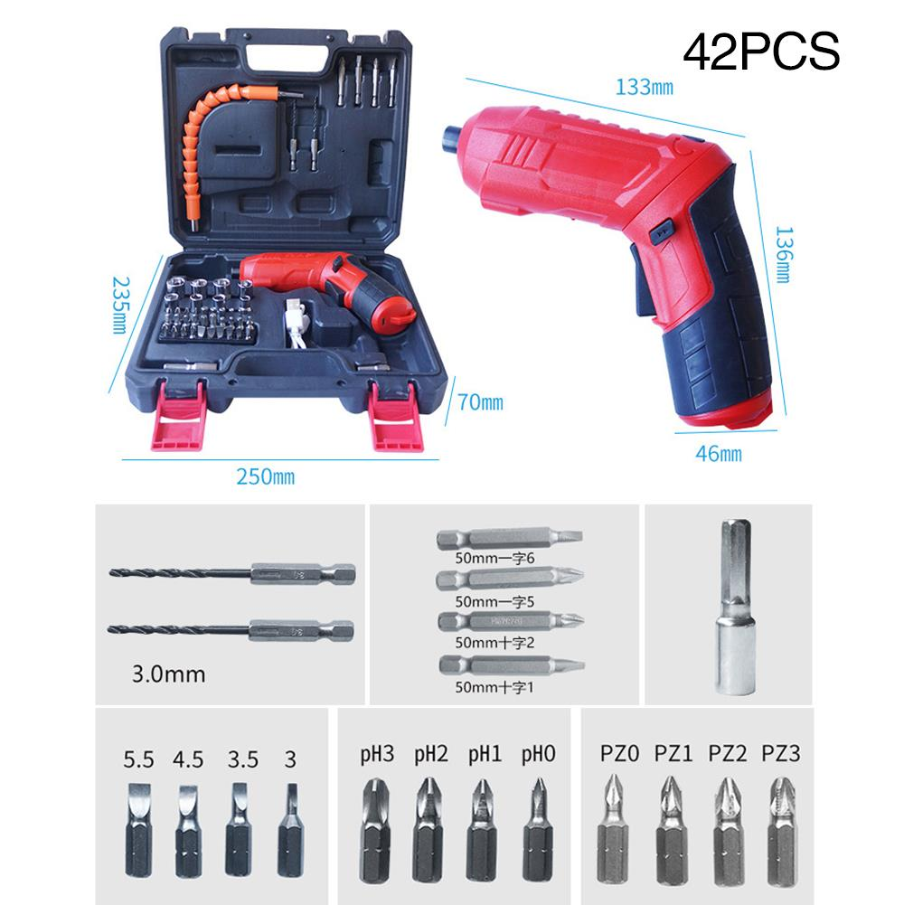 2/11/47pcs/Set Electric Screw Driver Mini Electric Drill Driver *220R/MIN LED Screwdriver Cutting Red Silicone Practical Durable