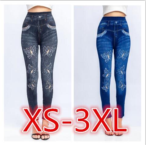 Bigsweety High Quality Women Leggings Butterfly Printing Leggin Skinny Jeans Legging Female Casual Denim Legging
