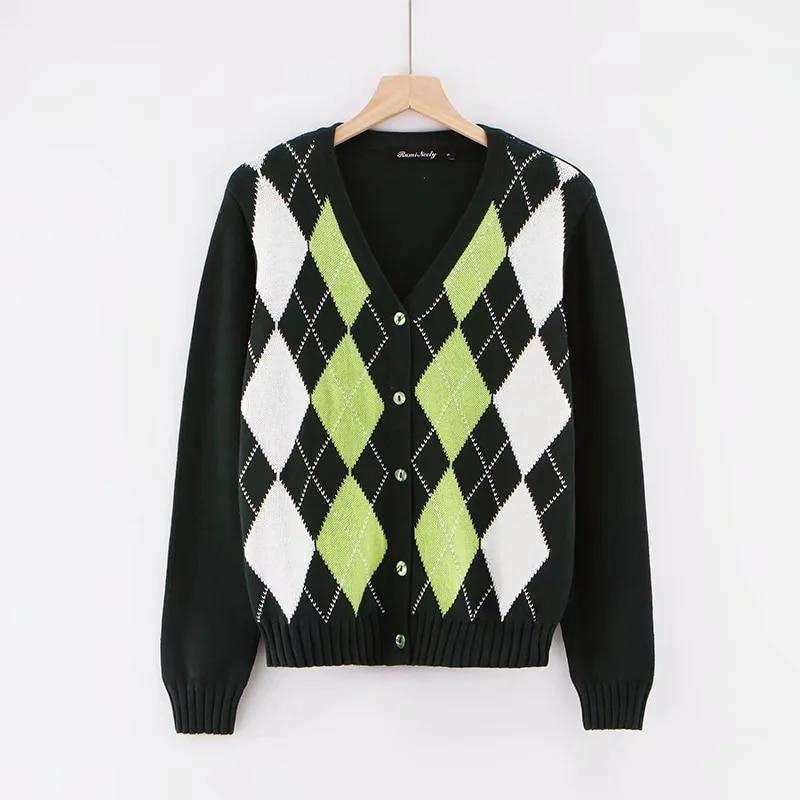 Women Cardigan Vintage Stylish Geometric Pattern Short Knitted Sweater Fashion Long Sleeve English Style Outerwear Chaqueta