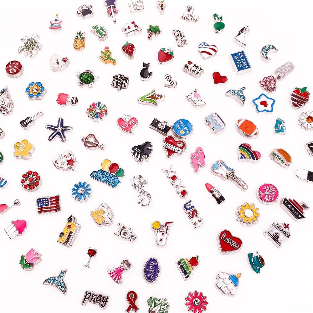 100 шт./лот, Смешанные случайные стили, Плавающие Подвески, подходят для стеклянной живой памяти, плавающие медальоны, ювелирные изделия, Куло...