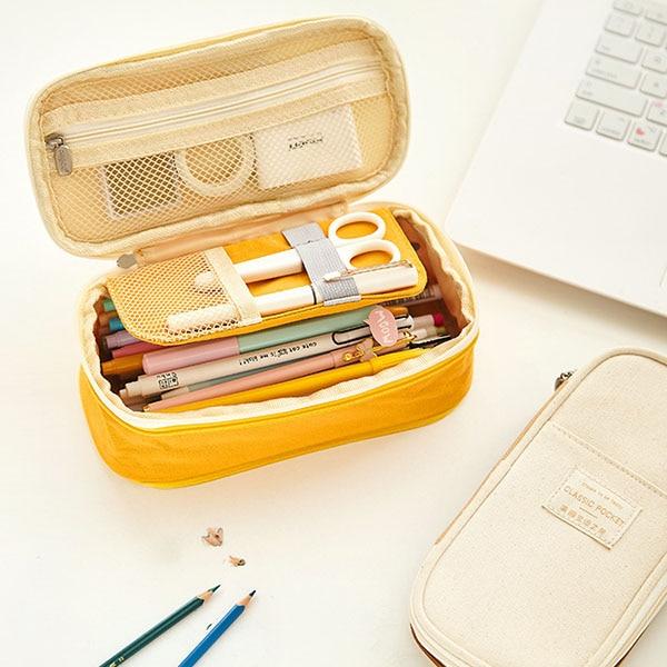 Korea Macaron Color Pencil Case Canvas Stretch Double Layer Large Capacity Pencil Box Cute Pen Bags Kids School Stationery