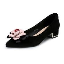2020 весна новый камелии женская обувь высокие каблуки черный профессиональная работа женщин дамы замши каблук