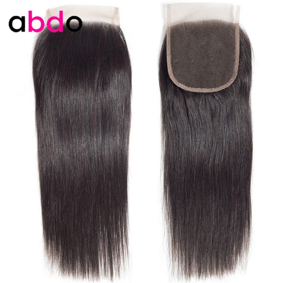 4x4 Lace Closure Human Hair Closure Brazilian Hair Weaving 20 22 Inch Closures Non-Remy Straight Frontal Closure Free Part Abdo