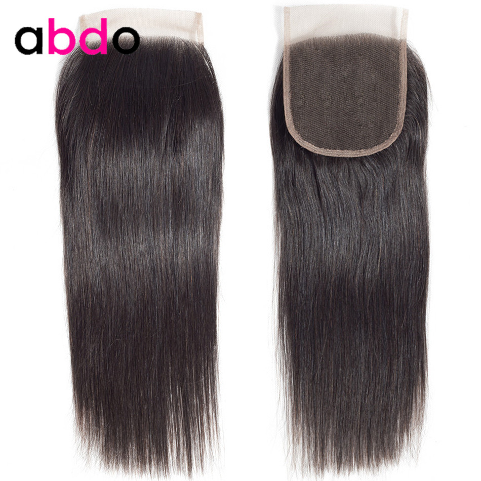 4x4 Lace Closure Human Hair Closure Brazilian Hair Weaving 20 22 Inch Closures Remy Hair Straight Frontal Closure Free Part Abdo