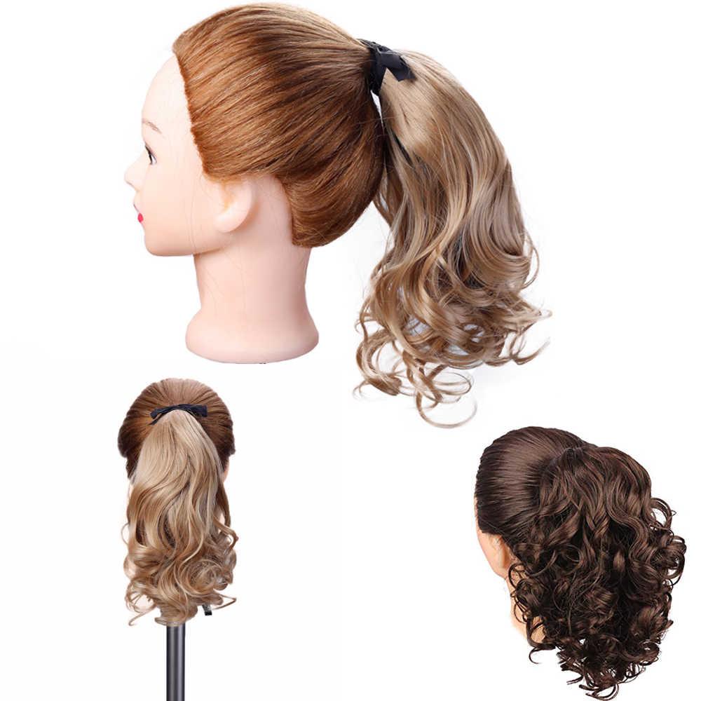 AILIADE mujer sintética con cola de caballo atada en extensión de cabello ondulado rizado estilo Cola de Caballo Negro marrón peinado