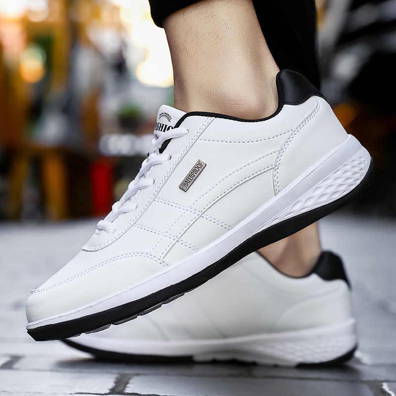 2020 גברים של עור אמיתי סניקרס לנשימה נעליים יומיומיות החלקה חיצוני הליכה נעלי אור משקל גומי בלעדי עד