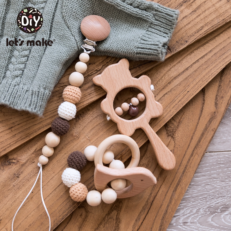 Baby Toys Wooden Rattle Infant Babyplay Baby Rattle Personalized Pacifier Chain Rattles For 0-12 Months Baby