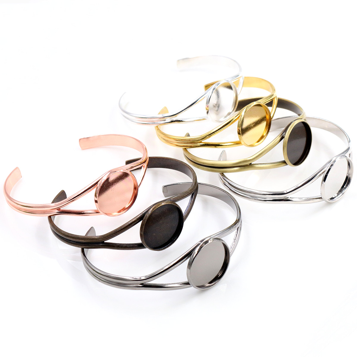 20mm 7 Colors Plated V Shape Bangle Settings Bracelet Cabochon Base Cameo Blank Bezel Tray High Quality Accessories