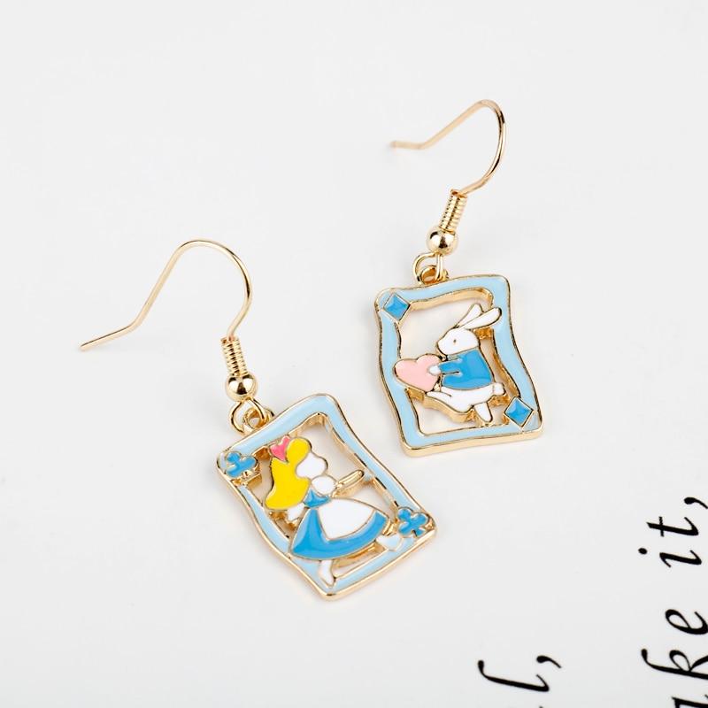 Cartoon-Alice-Wonderland-Enamel-Earrings-Princess-Heart-Rabbit-Bunny-Asymmetric-Pendant-for-Women-Girl-Children-Party (1)