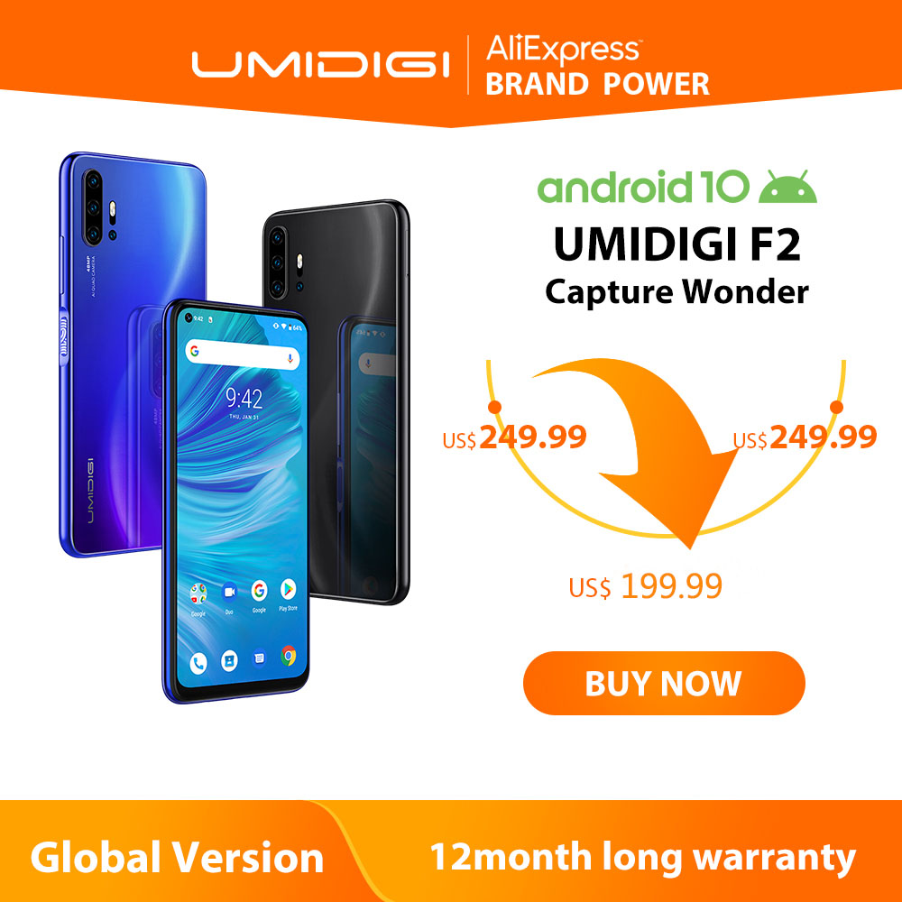 "UMIDIGI F2 Phone Android 10 Global Version 6.53"" FHD+ 6GB 128GB 48MP AI Quad Camera 32MP Selfie Helio P70 Cellphone 5150mAh NFC(China)"