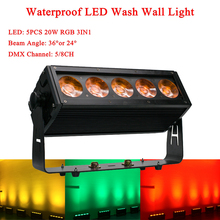 5x20W Waterproof LED RGB 3IN1 Wall Wash Light DMX Sound Led Bar For Indoor and Outdoor Party Wedding Church Disco DJ Stage цена 2017
