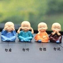 Zocdou 4 peças quatro não pequenos monges barehead miúdo pequena estátua pequena estatueta resina artesanato figura ornamento miniaturas