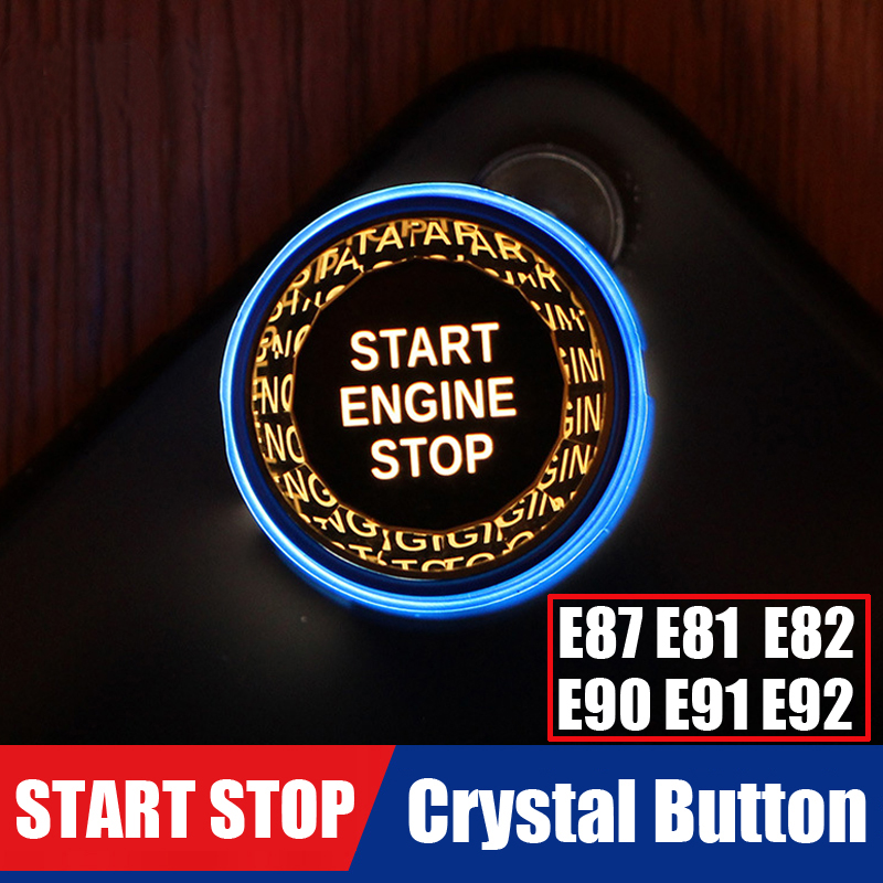 Perfect For BMW 1 Series E87 E81 E82 E88 3 Series E90 E91 E92 E93 ENGINE START STOP Crystal Button Cover Cap Switch Sticker image
