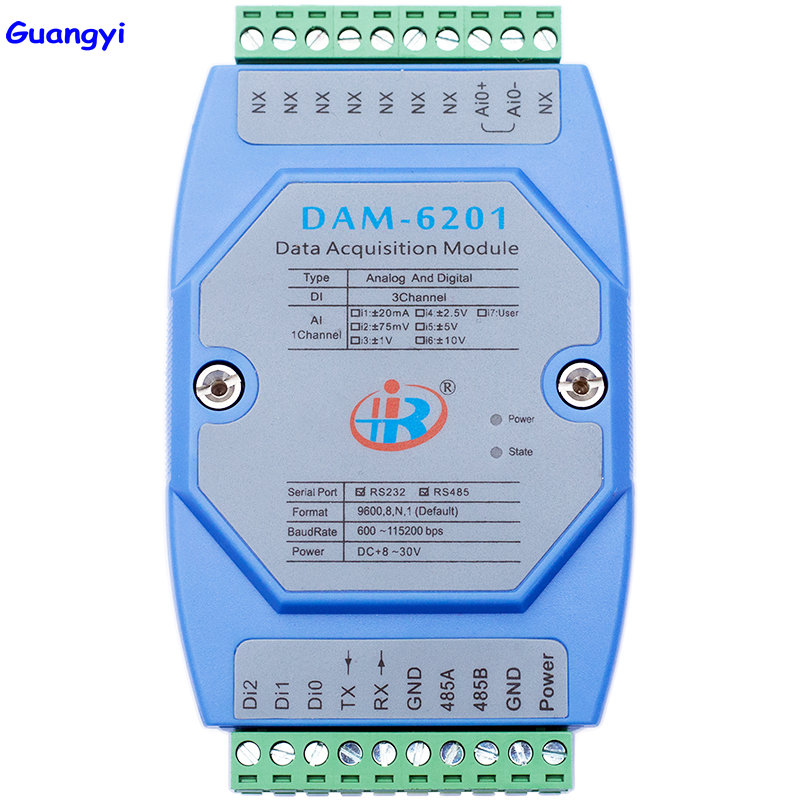 Guangyi DAM6201 Mixed Analog Digital Input Data Acquisition Module Modbus Voltage Current Converter