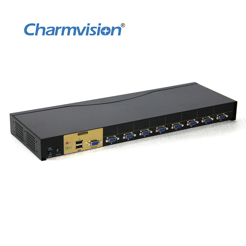 Charmvision VK801A стойка KVMA для DVR NVR хосты Авто переключатель 8 шт. USB VGA 3,5 мм Аудио Микрофон KVM переключатель клавиатура горячая клавиша сканировани