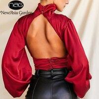 NewAsia Satin Body Frauen Rollkragen Laterne Langarm Backless Einfarbig Overalls Sexy Club Outfits für Frauen 2020