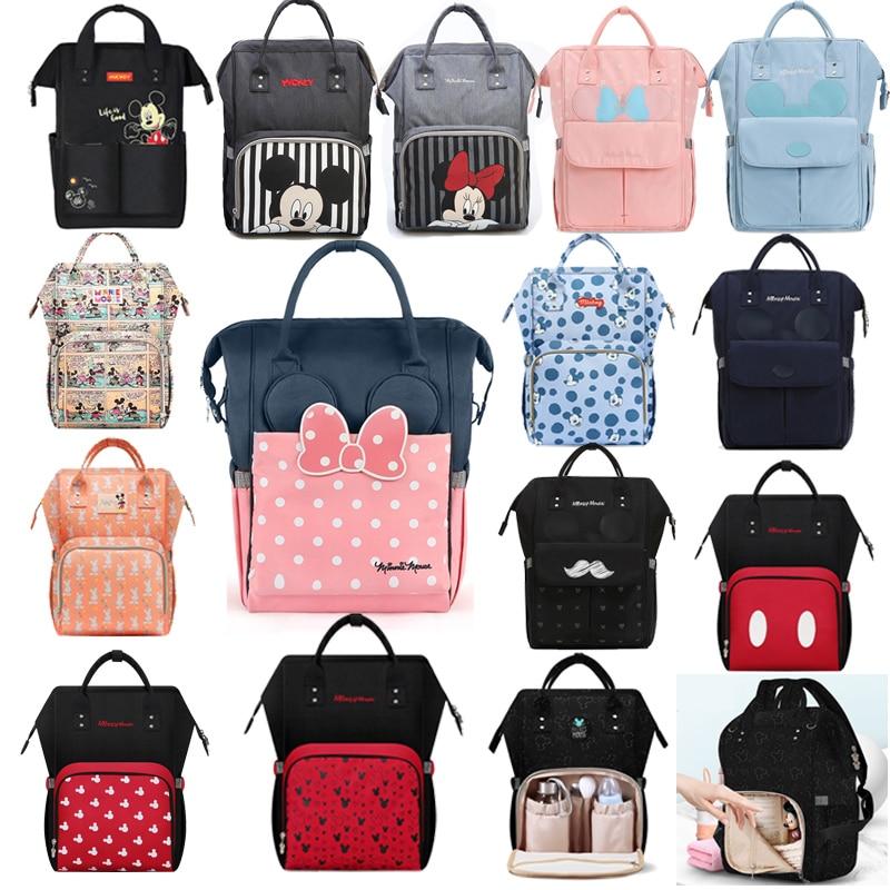Disney Windel Tasche Rucksack USB Flasche Isolierung Taschen Minnie Mickey Große Kapazität Reise Oxford Fütterung Baby Mumie Handtasche