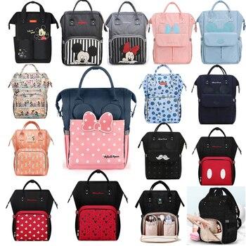 Disney bebek bezi çantası sırt çantası USB şişe yalıtım çantaları Minnie Mickey büyük kapasiteli seyahat Oxford besleme bebek mumya çanta