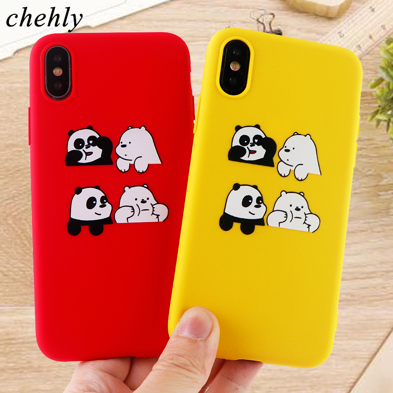 Panda Printing Phone Case for iPhone X XR XS Max 8 7 6 S Plus Animal Cases Soft Silicone Protect Cell Phone Accessories Covers