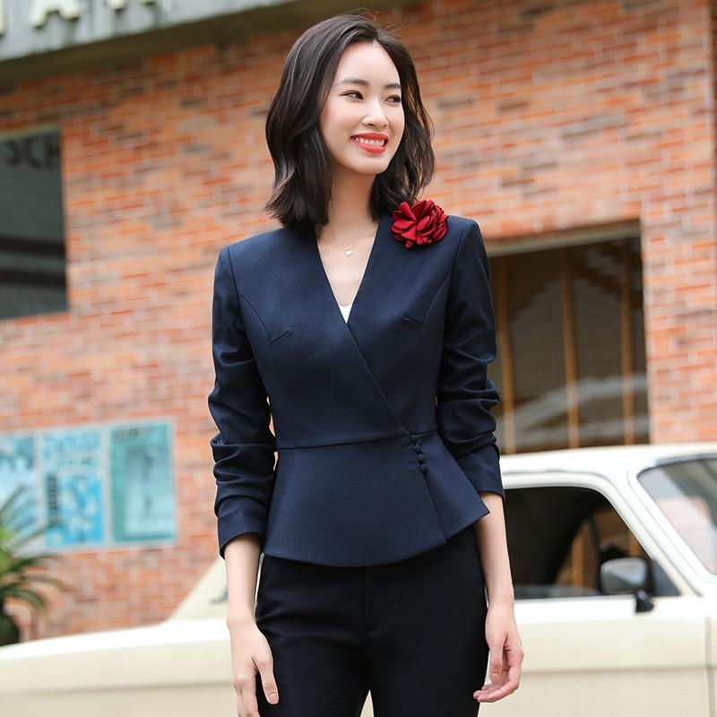 Office Work Elegant 2 Piece Pant Suits Formal Set for Women Pencil Pant and V Neck Blazer Female Business Trouser Suit Grey Blue