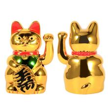 5 inch Small Gold Waving Cat Hand Paw Up Wealth Prosperity Welcoming Cat Good Luck Cat Feng Shui Decoration
