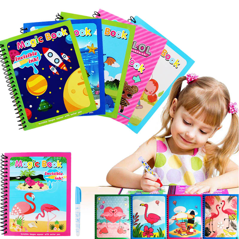Magic Water Painting Book Water Drawing Coloring Book Doodle Reusable Cartoon Drawing Board Kids Paintting Toy Gift For Children