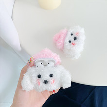 For AirPod 2 Case 3D White Cute Dog Cartoon Soft Plush Wireless Earphone Cases Apple Airpods Cover Funda
