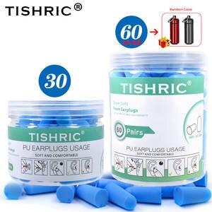 TISHRIC Earplugs Soft-Foam Anti-Noise Noise-Reduction for Travel Study 30/60-Pairs