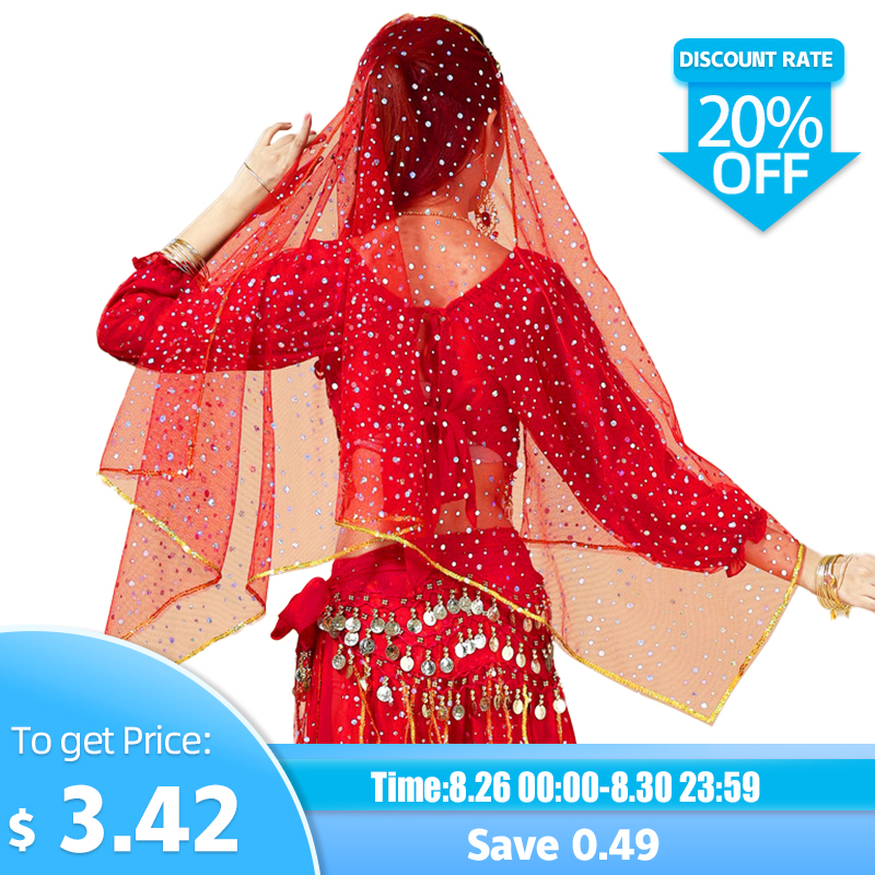 Women Belly Dance Carf Gold Coins+Bright Spot Veil Girls Belly Dance Head Carf Dance Accessories