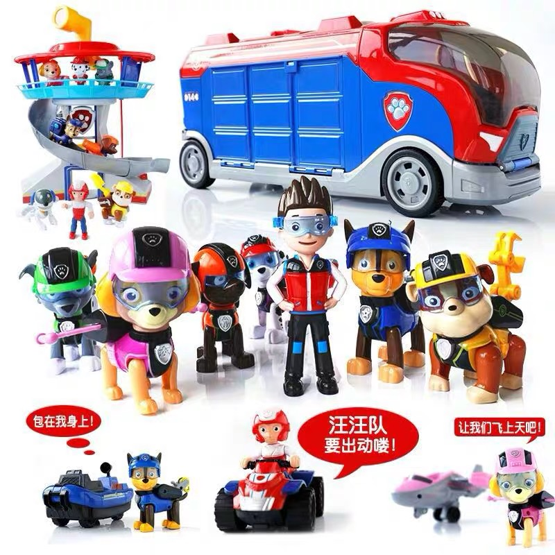 Paw Patrol Bus Lookout Tower With Music Patrulla Canina Psi Patrol Car Action Figures Toys For Children Christmas Gifts