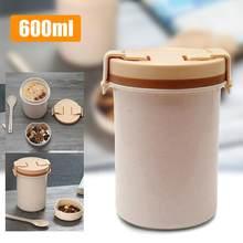 600ml przenośne jedzenie termos pojemnik Bento naczynia do mikrofalówki pojemnik do przechowywania żywności zagęszczony Big szczelna kubek na zupę z pokrywką Hot