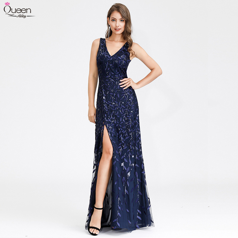 Sequined Evening Dresses Side Split Long Queen Abby A-Line V-Neck Sleeveless Ladies Formal Party Gowns Sexy Abiye Gece Elbisesi